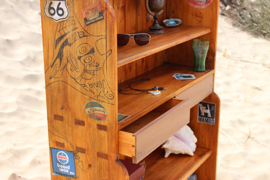 Bespoke Surf inspired Bookcase by Howard Butler