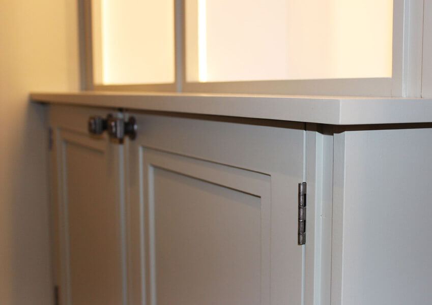 Fitted Wall Display Cabinet by Howard Butler bespoke cabinet maker