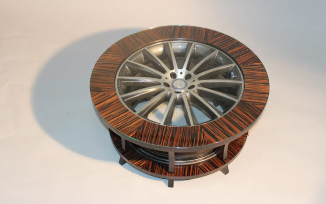 Mercedes benz Wheel Table by Howard Butler Bespoke Furniture